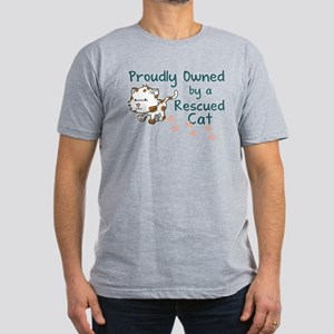 Proudly Owned (Cat) Men's Fitted T-Shirt (dark)