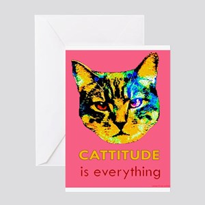 Cattitude in pink Greeting Card
