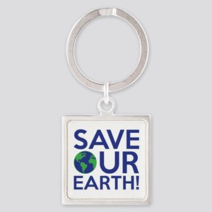 Save Our Earth Square Keychain