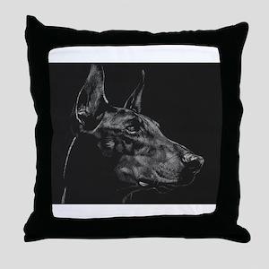 Dramatic Doberman Throw Pillow