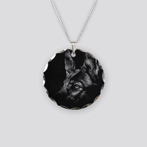Dramatic German Shepherd Necklace Circle Charm