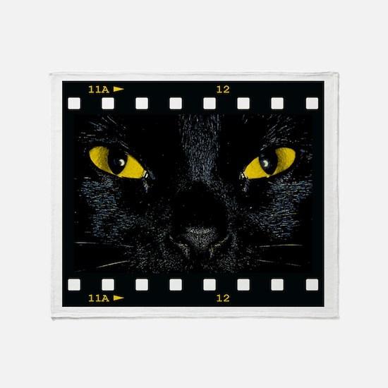 Black Cat Stare Throw Blanket