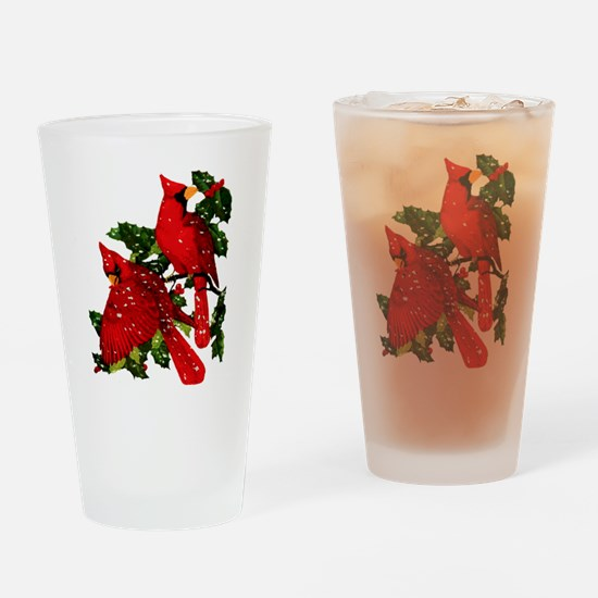 Snow Cardinals Drinking Glass