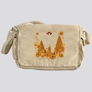 Luxury gold and red Merry Chr Messenger Bag