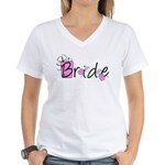 Pink Lady Bride Women's V-Neck T-Shirt