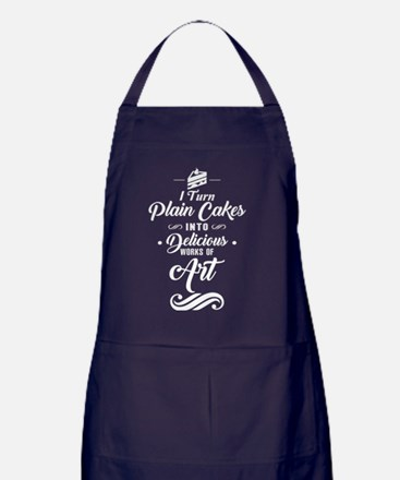 I Turn Plain Cakes T Shirt, Delicious Apron (dark)