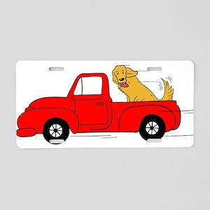 Dogs Love Red Trucks Aluminum License Plate