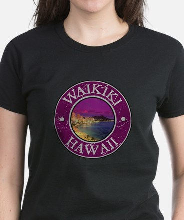 Waikiki, Hawaii Women's Dark T-Shirt