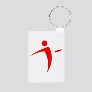 Nano Disc Golf RED Logo Aluminum Photo Keychain