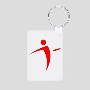 Nano Disc Golf RED Logo Aluminum Photo Keychain