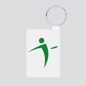 Nano Disc Golf GREEN Logo Aluminum Photo Keychain