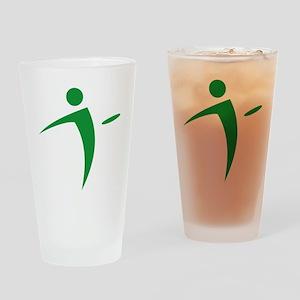 Nano Disc Golf GREEN Logo Drinking Glass