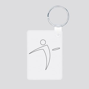 Nano Disc Golf WHITE Logo Aluminum Photo Keychain
