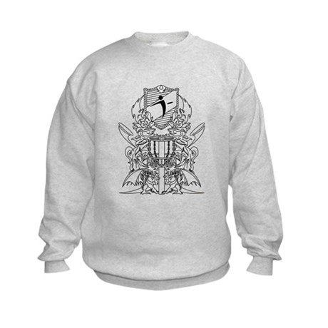 Black/White Disc Golf Coat of Arms Kids Sweatshirt
