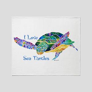 Beautiful Sea Turtle Throw Blanket