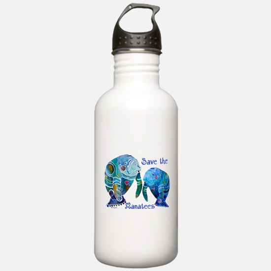 Save The Manatees in Blues Water Bottle
