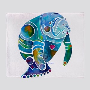 Manatees 1 Throw Blanket