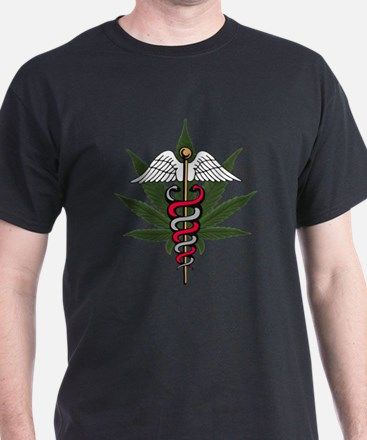Medical Marijuana Caduceus Black T-Shirt
