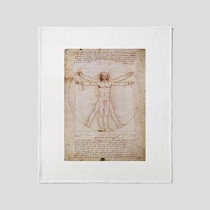 Vitruvian Man by Leonardo Throw Blanket