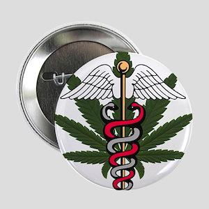 Medical Marijuana Caduceus Button