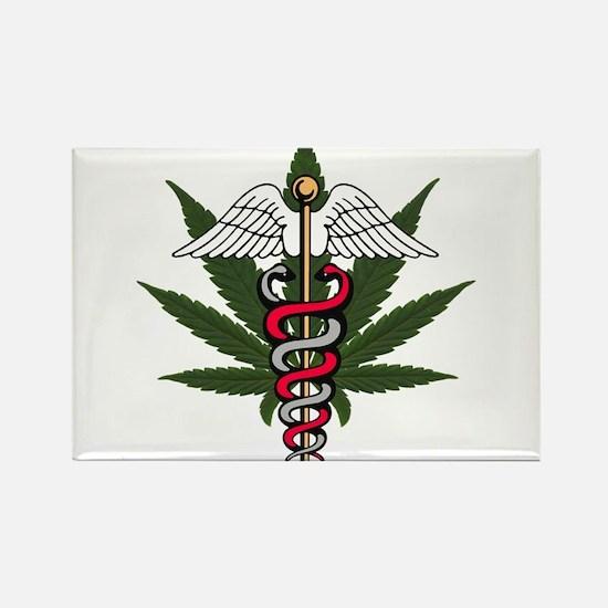 Medical Marijuana Caduceus Rectangle Magnet