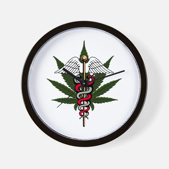 Medical Marijuana Caduceus Wall Clock
