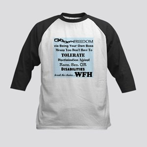 Be Free. Work From Home. Kids Baseball Jersey