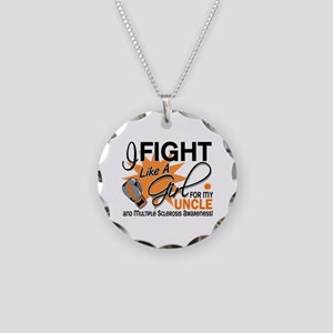 Fight Like A Girl For My MS Necklace Circle Charm