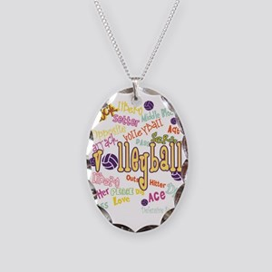 Volleyball Necklace Oval Charm