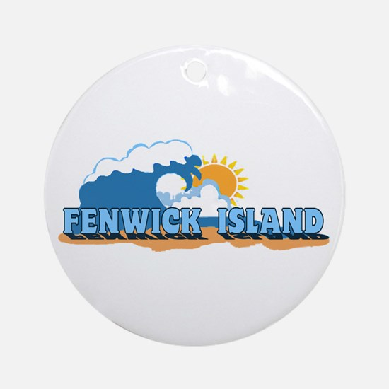 Fenwick Island DE - Waves Design Ornament (Round)