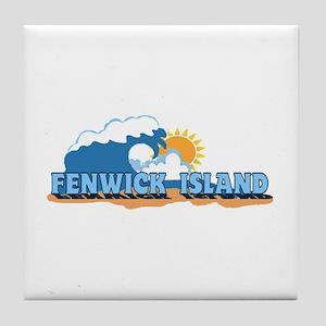 Fenwick Island DE - Waves Design Tile Coaster