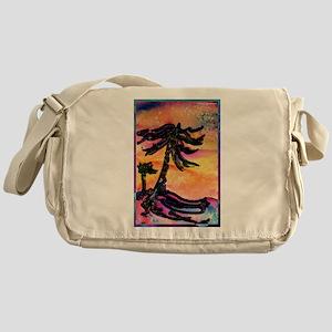 Palm trees, sunset, bright Messenger Bag