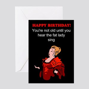 Funny birthday fat lady Greeting Card