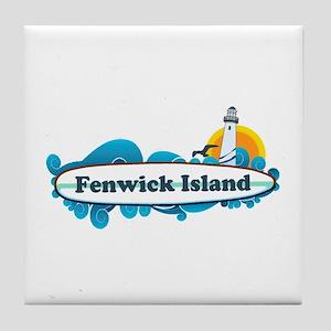 Fenwick Island DE - Surf Design Tile Coaster