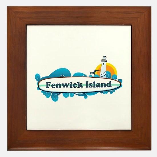 Fenwick Island DE - Surf Design Framed Tile