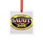 SAUGYLOGO Square Glass Ornament