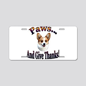 Paws and Give Thanks-Dott Aluminum License Plate