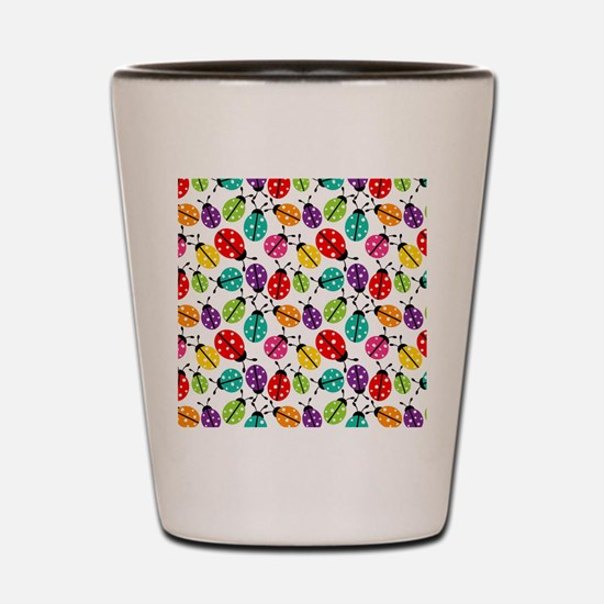 Lots of Crayon Colored Ladybugs Shot Glass