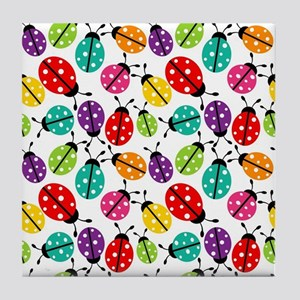 Lots of Crayon Colored Ladybugs Tile Coaster