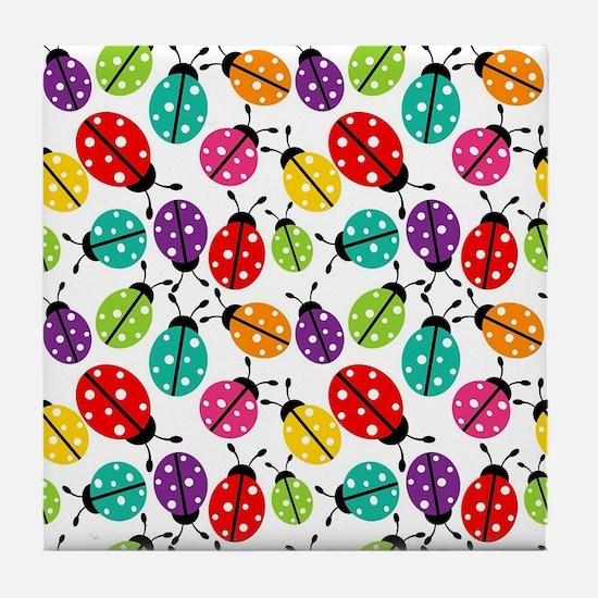 Lots of Crayon Colored Ladybugs Tile Coaster