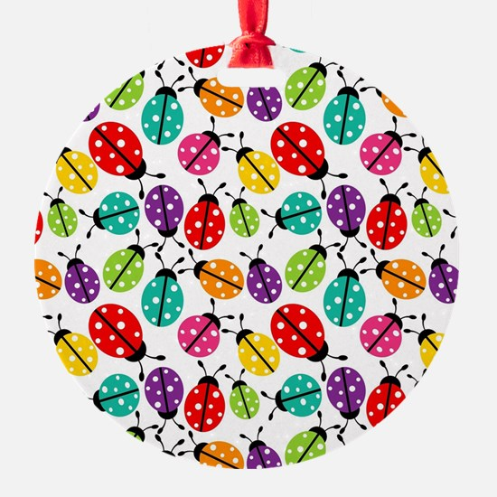 Lots of Crayon Colored Ladybugs Ornament