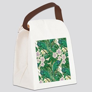 Chameleons and Camellias Canvas Lunch Bag