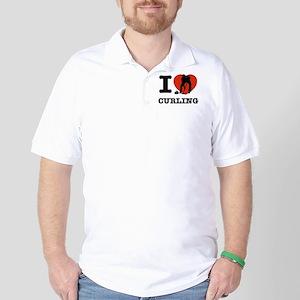I love Curling Golf Shirt