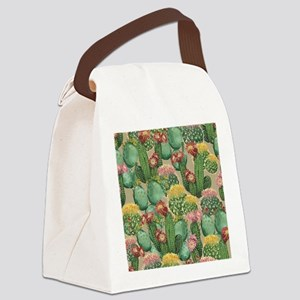 Assorted Blooming Cactus Plants Canvas Lunch Bag