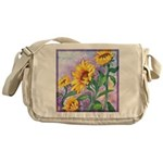 Sunny Sunflowers Watercolor Messenger Bag