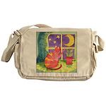 Cat and Moon Watercolor Messenger Bag