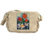Fish and Flowers Art Messenger Bag