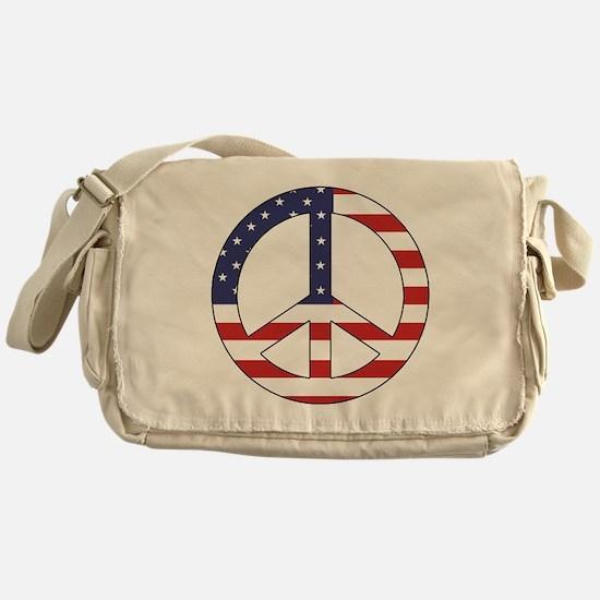 Peace Sign (American Flag) Messenger Bag