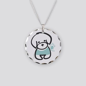 Bichon Frise Puppy Necklace Circle Charm