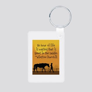 Horse and Child Aluminum Photo Keychain